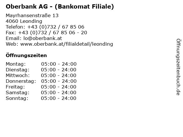 Oberbank AG - (Bankomat Filiale) in Leonding: Adresse und Öffnungszeiten