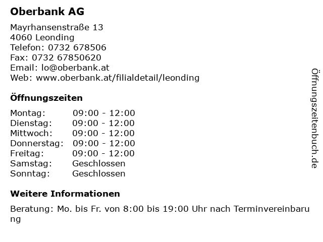 Oberbank AG in Leonding: Adresse und Öffnungszeiten