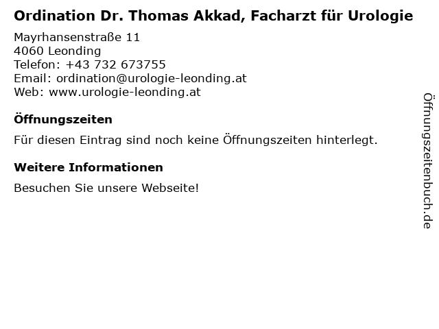 Ordination Dr. Thomas Akkad, Facharzt für Urologie in Leonding: Adresse und Öffnungszeiten