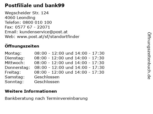 Postfiliale und bank99 in Leonding: Adresse und Öffnungszeiten