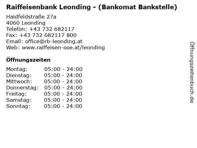 Raiffeisenbank Leonding - (Bankomat Bankstelle) in Leonding: Adresse und Öffnungszeiten