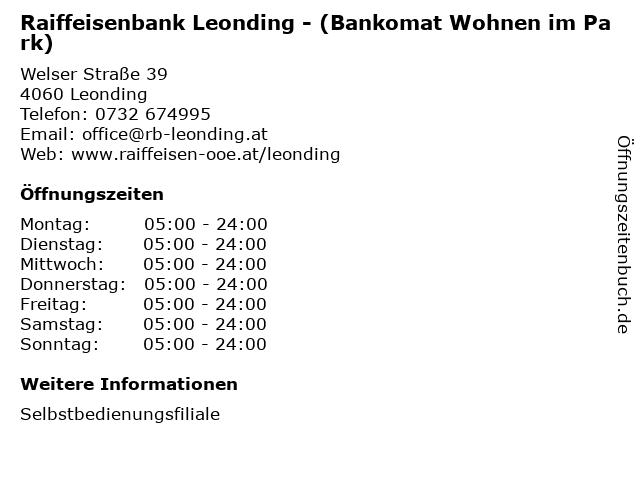 Raiffeisenbank Leonding - (Bankomat Wohnen im Park) in Leonding: Adresse und Öffnungszeiten