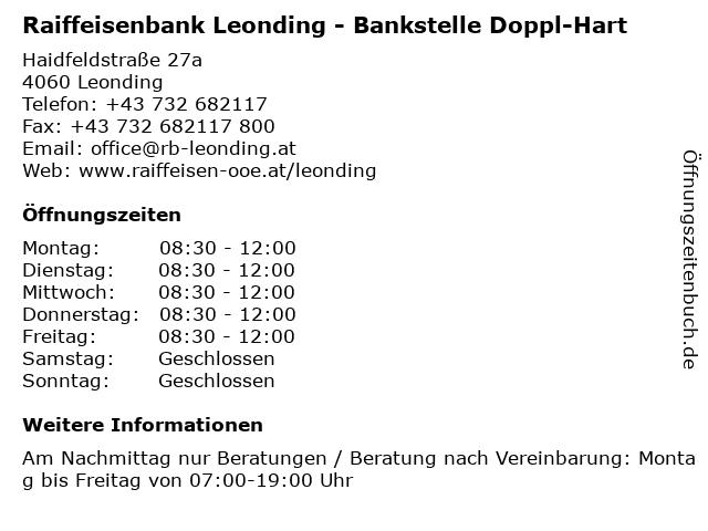 Raiffeisenbank Leonding - Bankstelle Doppl-Hart in Leonding: Adresse und Öffnungszeiten