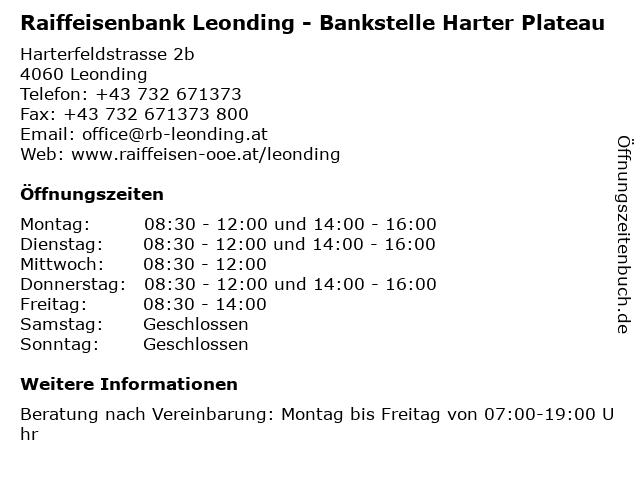 Raiffeisenbank Leonding - Bankstelle Harter Plateau in Leonding: Adresse und Öffnungszeiten