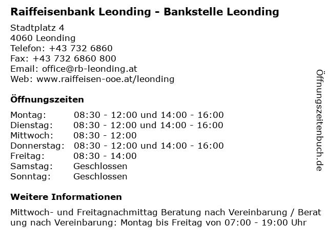 Raiffeisenbank Leonding - Bankstelle Leonding in Leonding: Adresse und Öffnungszeiten