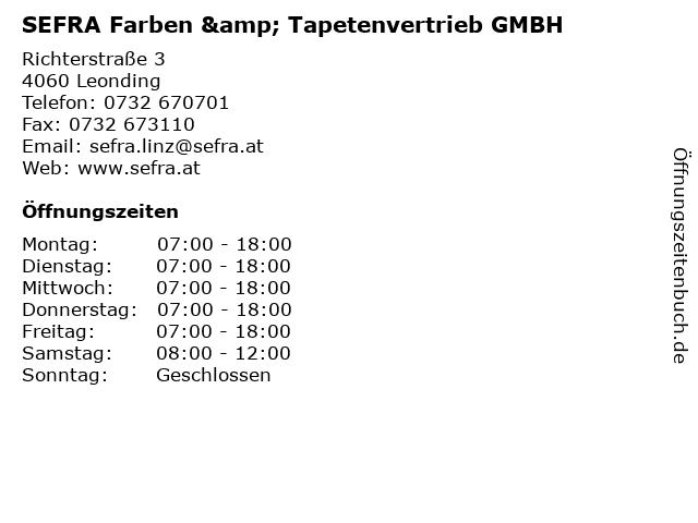 SEFRA Farben & Tapetenvertrieb GMBH in Leonding: Adresse und Öffnungszeiten