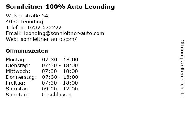 Sonnleitner 100% Auto Leonding in Leonding: Adresse und Öffnungszeiten