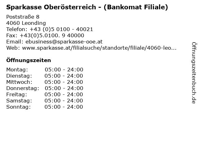 Sparkasse Oberösterreich - (Bankomat Filiale) in Leonding: Adresse und Öffnungszeiten