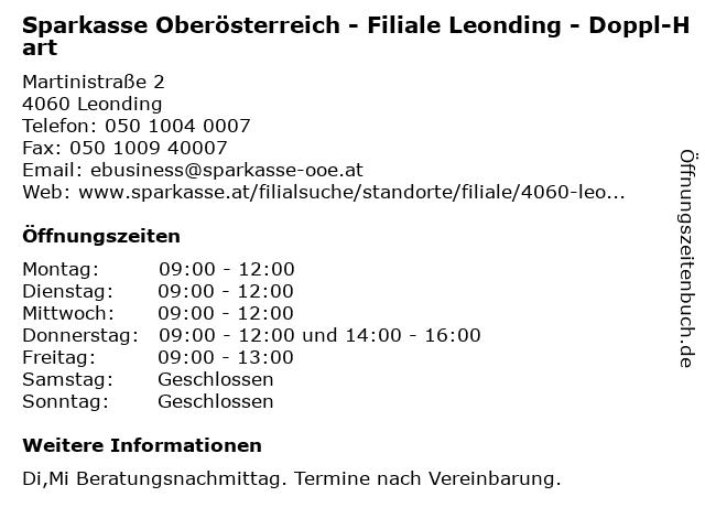 Sparkasse Oberösterreich - Filiale Leonding - Doppl-Hart in Leonding: Adresse und Öffnungszeiten