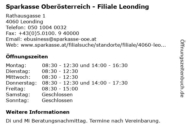 Sparkasse Oberösterreich - Filiale Leonding in Leonding: Adresse und Öffnungszeiten