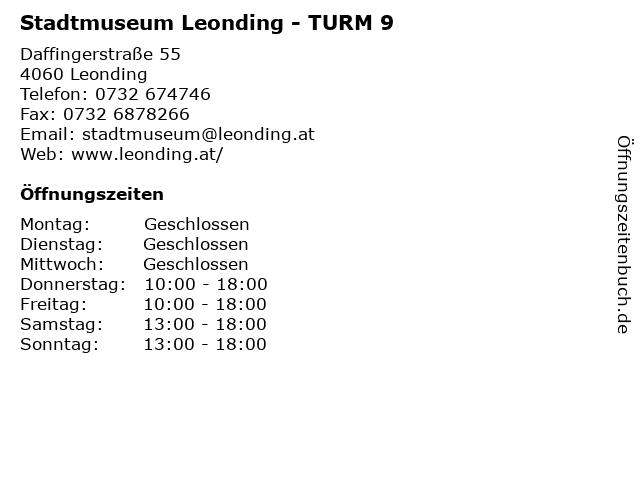 Stadtmuseum Leonding - TURM 9 in Leonding: Adresse und Öffnungszeiten