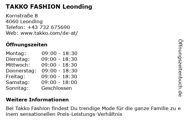 Takko Fashion in Leonding: Adresse und Öffnungszeiten