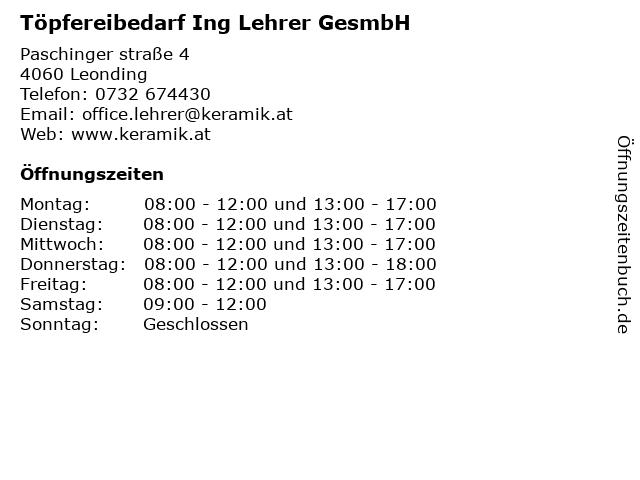 Töpfereibedarf Ing Lehrer GesmbH in Leonding: Adresse und Öffnungszeiten