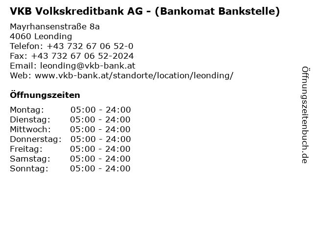 VKB Volkskreditbank AG - (Bankomat Bankstelle) in Leonding: Adresse und Öffnungszeiten