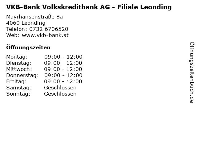VKB-Bank Volkskreditbank AG - Filiale Leonding in Leonding: Adresse und Öffnungszeiten