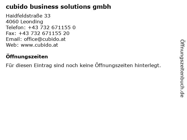 cubido business solutions gmbh in Leonding: Adresse und Öffnungszeiten