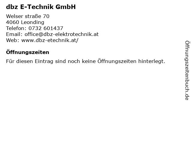 dbz E-Technik GmbH in Leonding: Adresse und Öffnungszeiten
