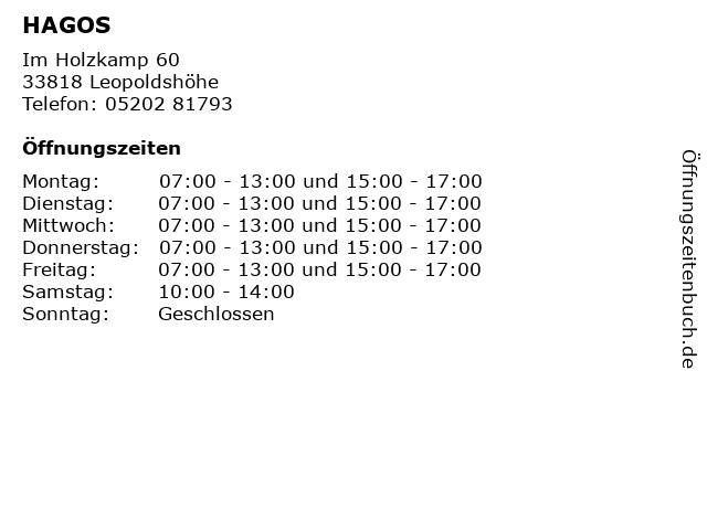 HAGOS in Leopoldshöhe: Adresse und Öffnungszeiten