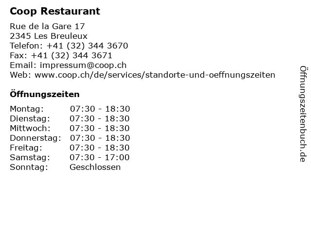 Coop Restaurant in Les Breuleux: Adresse und Öffnungszeiten