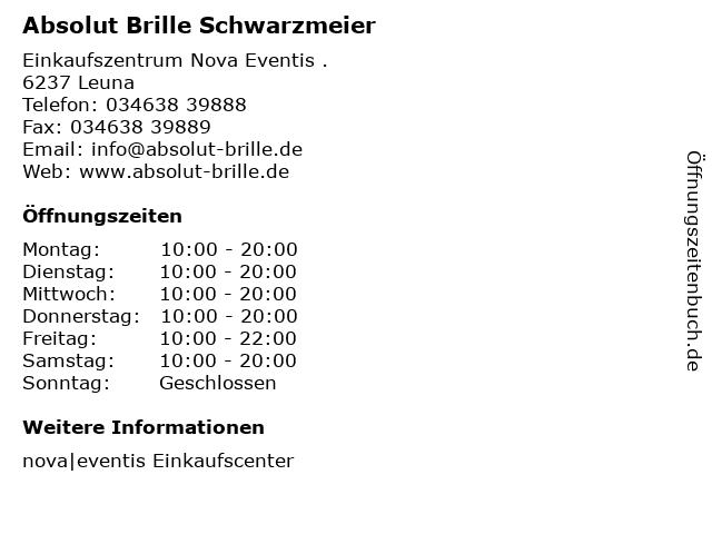 Absolut Brille Schwarzmeier in Leuna: Adresse und Öffnungszeiten