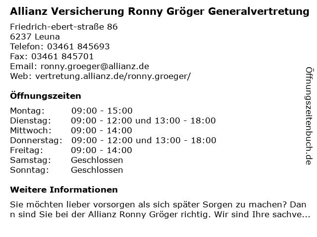 Allianz Versicherung -Generalvertretung Ronny Gröger in Leuna: Adresse und Öffnungszeiten