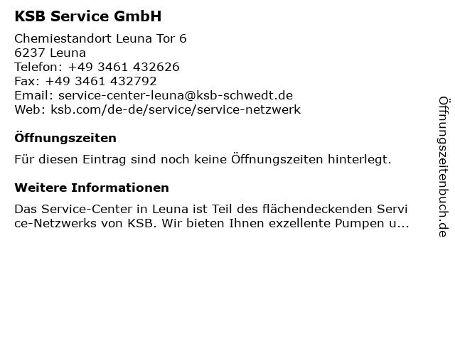 KSB Service GmbH in Leuna: Adresse und Öffnungszeiten