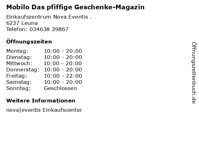 Mobilo Das pfiffige Geschenke-Magazin in Leuna: Adresse und Öffnungszeiten