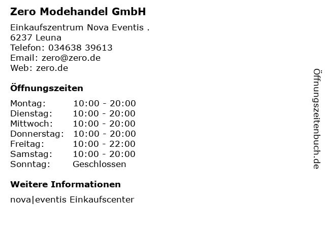 Zero Modehandel GmbH in Leuna: Adresse und Öffnungszeiten