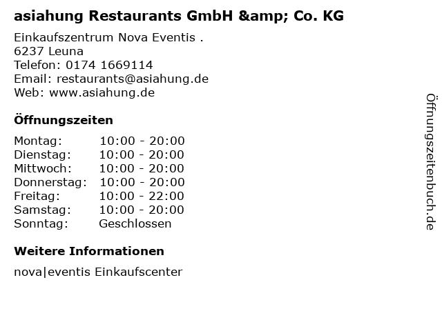 asiahung Restaurants GmbH & Co. KG in Leuna: Adresse und Öffnungszeiten