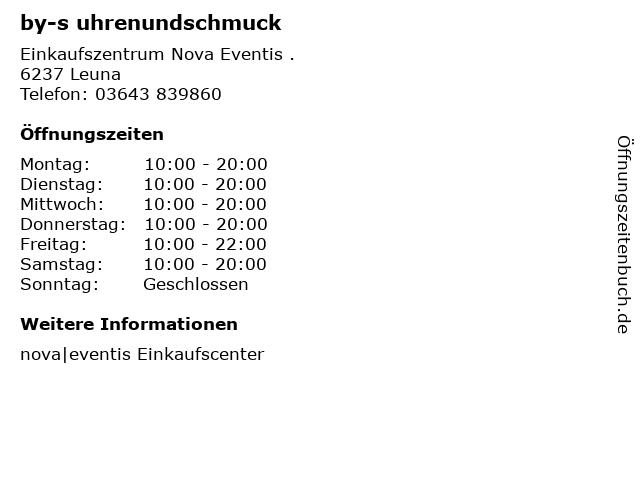 by-s uhrenundschmuck in Leuna: Adresse und Öffnungszeiten