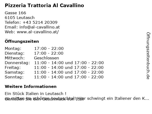 Al Cavallino in Leutasch: Adresse und Öffnungszeiten