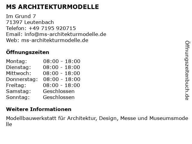 MS ARCHITEKTURMODELLE in Leutenbach: Adresse und Öffnungszeiten