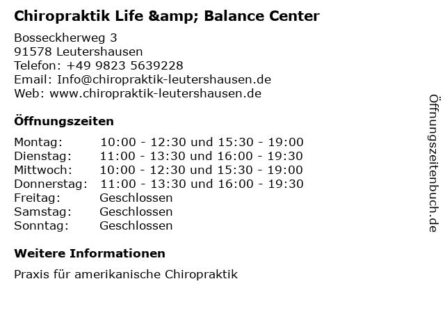Chiropraktik Life & Balance Center in Leutershausen: Adresse und Öffnungszeiten