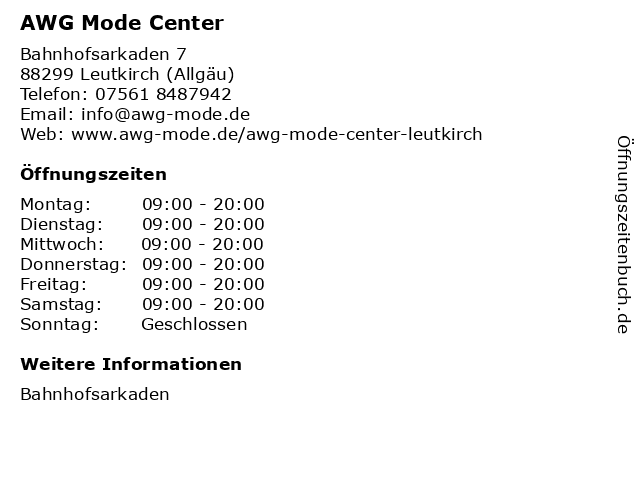 AWG Mode Center in Leutkirch (Allgäu): Adresse und Öffnungszeiten