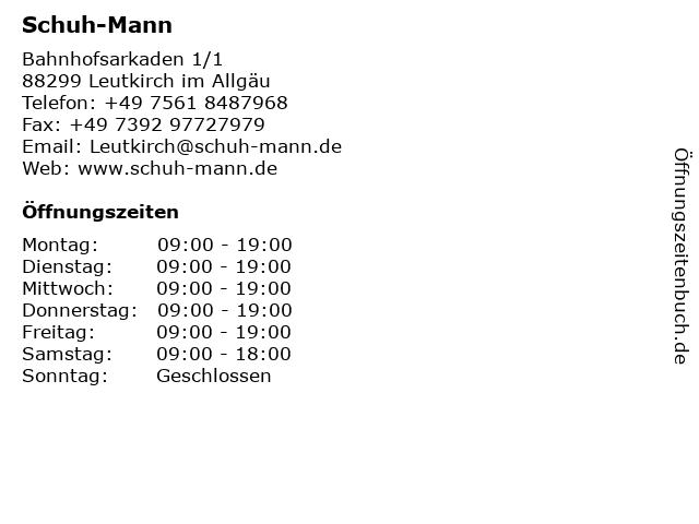 Schuh-Mann in Leutkirch im Allgäu: Adresse und Öffnungszeiten