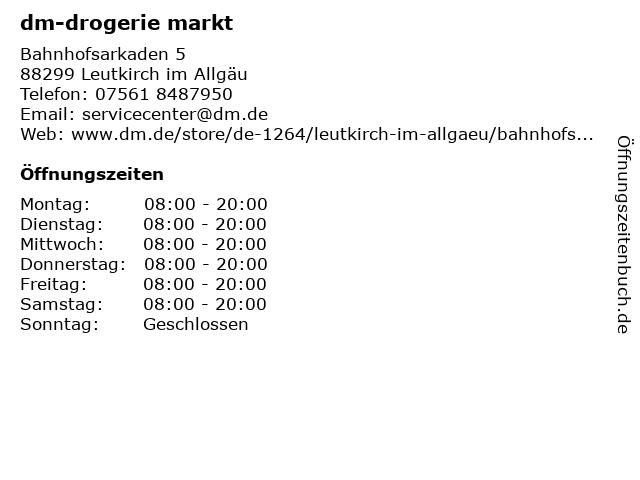 dm-drogerie markt GmbH + Co. KG in Leutkirch: Adresse und Öffnungszeiten