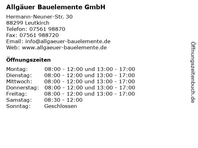 Allgäuer Bauelemente GmbH in Leutkirch: Adresse und Öffnungszeiten