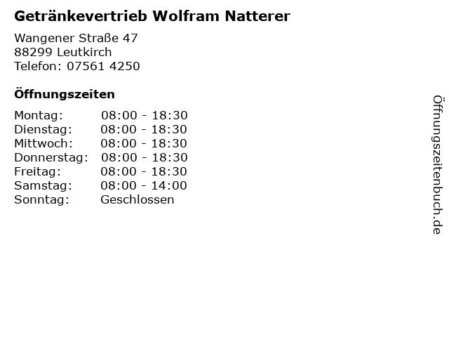 Getränkevertrieb Wolfram Natterer in Leutkirch: Adresse und Öffnungszeiten