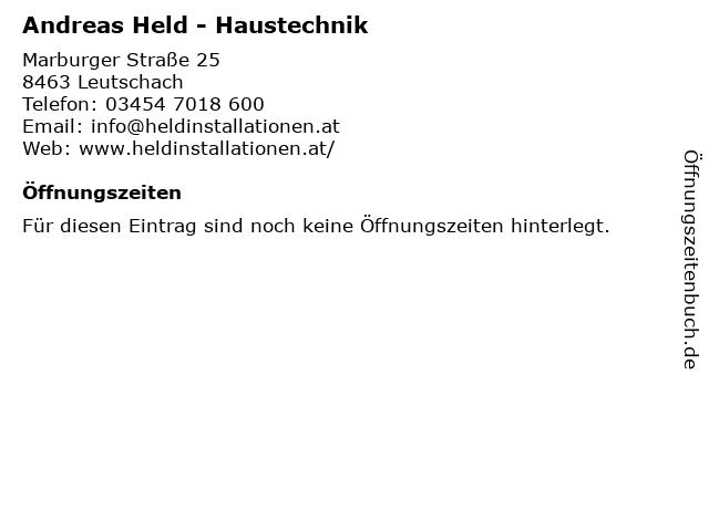 Andreas Held - Haustechnik in Leutschach: Adresse und Öffnungszeiten