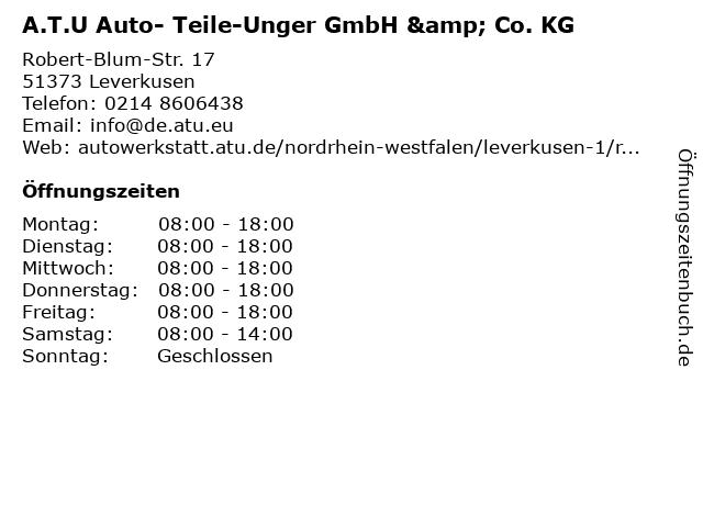 A.T.U Auto- Teile-Unger GmbH & Co. KG in Leverkusen: Adresse und Öffnungszeiten