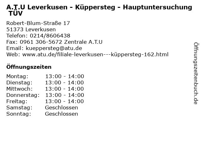 A.T.U Leverkusen - Küppersteg - Hauptuntersuchung TÜV in Leverkusen: Adresse und Öffnungszeiten