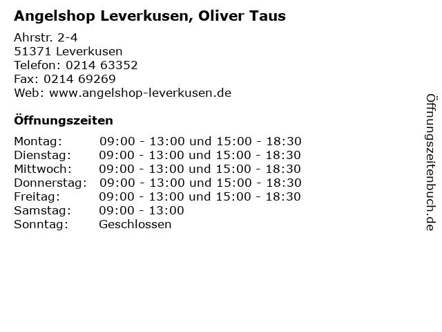 Angelshop Leverkusen, Oliver Taus in Leverkusen: Adresse und Öffnungszeiten