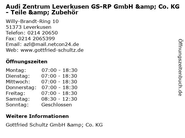 Audi Zentrum Leverkusen GS-RP GmbH & Co. KG - Teile & Zubehör in Leverkusen: Adresse und Öffnungszeiten