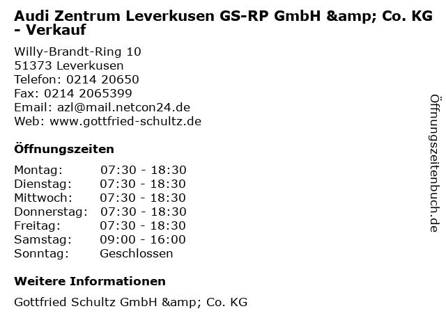 Audi Zentrum Leverkusen GS-RP GmbH & Co. KG - Verkauf in Leverkusen: Adresse und Öffnungszeiten