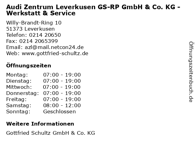 Audi Zentrum Leverkusen GS-RP GmbH & Co. KG - Werkstatt & Service in Leverkusen: Adresse und Öffnungszeiten