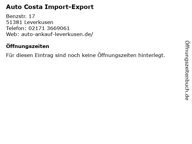 Auto Costa Import-Export in Leverkusen: Adresse und Öffnungszeiten