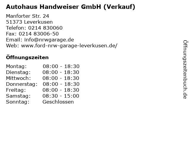 Autohaus Handweiser GmbH (Verkauf) in Leverkusen: Adresse und Öffnungszeiten