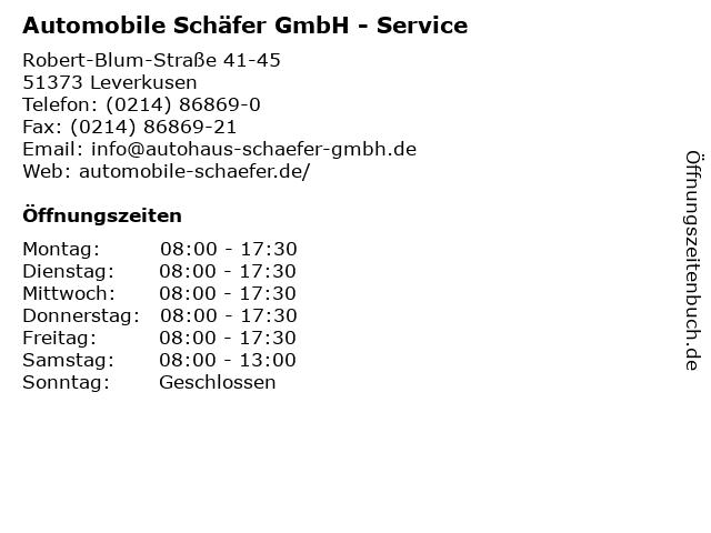 Automobile Schäfer GmbH - Service in Leverkusen: Adresse und Öffnungszeiten