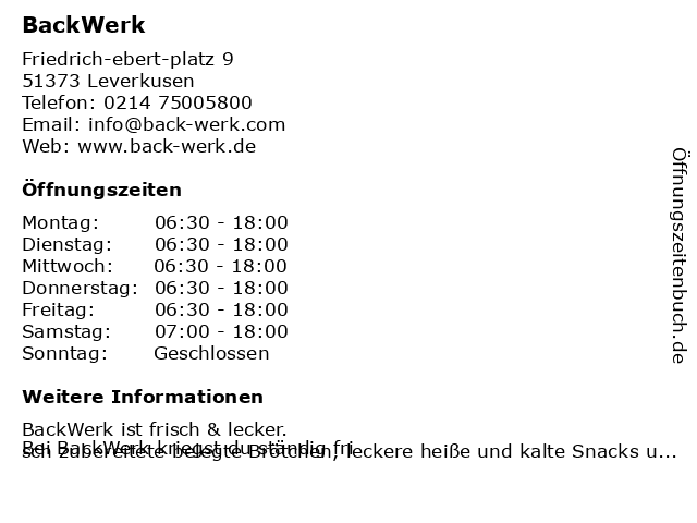 BackWerk in Leverkusen: Adresse und Öffnungszeiten
