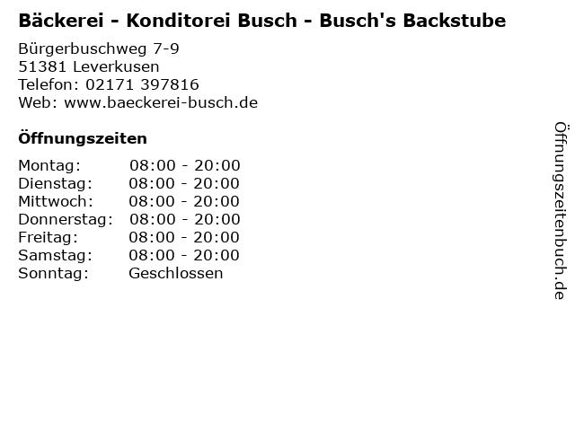 Bäckerei - Konditorei Busch - Busch's Backstube in Leverkusen: Adresse und Öffnungszeiten